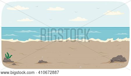 Polluted Coastline With Ocean And Waves Vector Illustration. Seascape With Salty Water On Seashore.