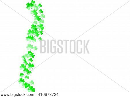 St Patricks Day Background With Shamrock. Lucky Trefoil Confetti. Glitter Frame Of Clover Leaves. Te