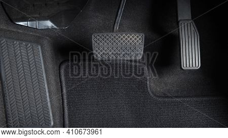 Accelerator And Breaking Pedal In A Car.