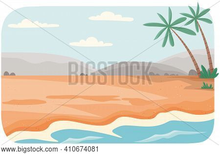 Coastline With Ocean At High Tide. Seascape With Salty Water On Seashore On Background Of Mountains
