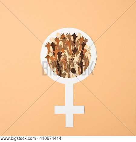 Gender Equality Of Women In The World Against Men. Symbol Of Womens Equality In The World With Men.