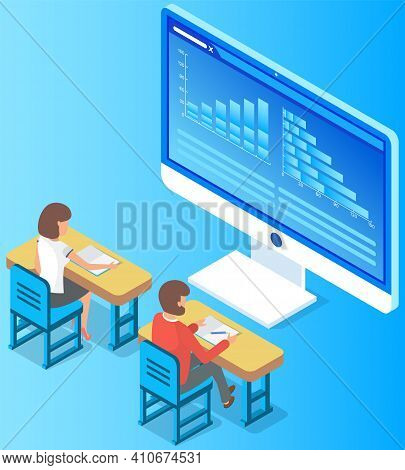 Business People Working At Desk Analyzing Financial Statistics. Group Of Professional Marketers Stud