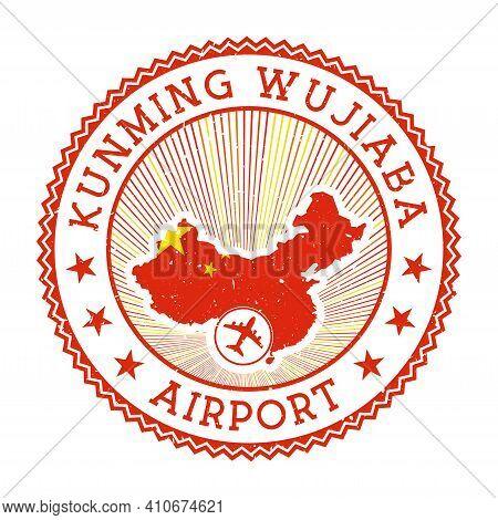 Kunming Wujiaba Airport Stamp. Airport Logo Vector Illustration. Kunming Aeroport With Country Flag.