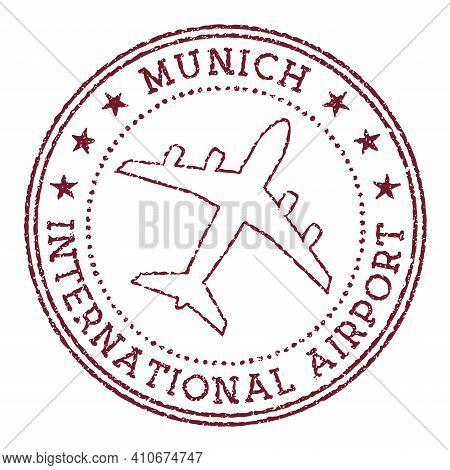 Munich International Airport Stamp. Airport Of Munich Round Logo. Vector Illustration.