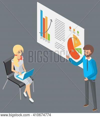 Businesswoman Working Analyzing Financial Statistics. The Marketer Examines Information With Charts.