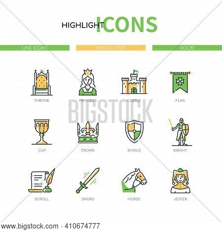 Middle Ages - Modern Line Design Style Icons Set