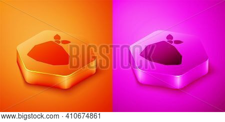 Isometric Vandal Icon Isolated On Orange And Pink Background. Hexagon Button. Vector
