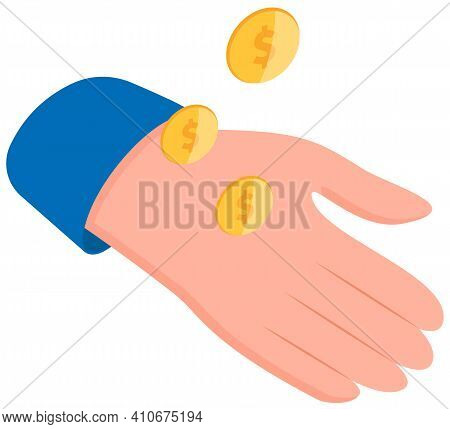 Hand Is Holding Pile Of Money Isolated On The White Background. Man Is Tossing Gold Coins. Means To