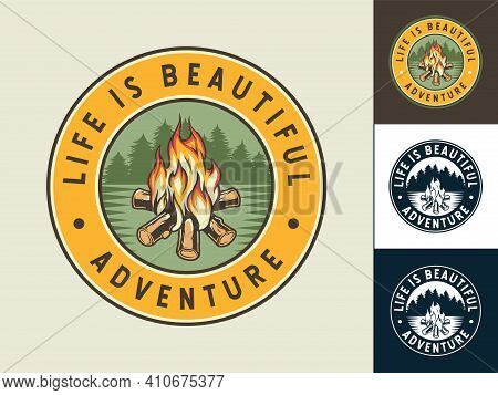 Set Of Patch Of Campfire With Flame For Camping