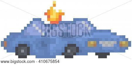 Blue Burning Car Isolated On White Background. Attacked Destroyed Transport With Fire On Roof. Passe