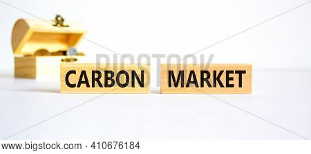 Carbon Market Symbol. Concept Words 'carbon Market' On Wooden Blocks On A Beautiful White Background