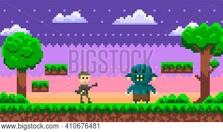 Pixel 8 Bit Retro Game. Soldier In Military Uniform Fighting Against Monster, Zombie Attacks Human,