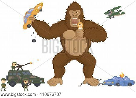 King Kong In Pixel Game Layout Design. Gorilla Attacks Humanity, Holds Girl And Car In Hands. Giant