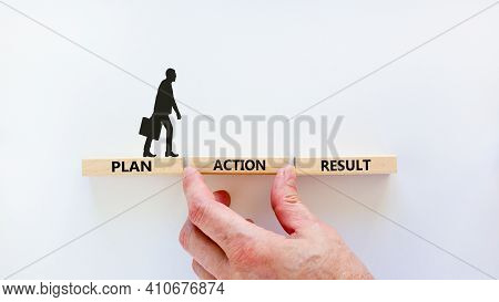 Plan, Action, Result Symbol. Wooden Blocks Form The Words 'plan, Action, Result' On Beautiful White