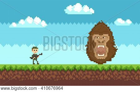 Pixel 8 Bit Retro Game. Soldier In Military Uniform Is Fighting Against Monster, King Kong Attacks H