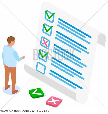Man Studying Questionnaire. Businessman Makes Choice Between Buttons. Exam Assessment Concept. Carto