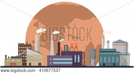 Manufactures And Factories Pollute Air And Atmosphere. Plants Emit Harmful Substances, Smoke And Smo
