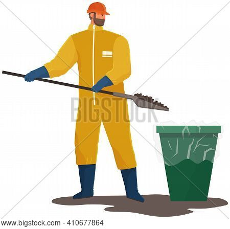 Global Pollution Concept. Volunteer Is Cleaning Dirty Area. Male Character In Protective Suit Collec