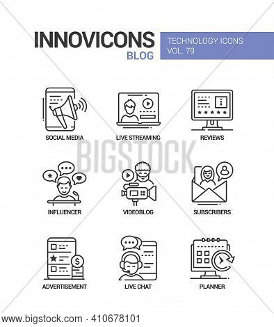 Blog Concept Line Design Style Icons Set