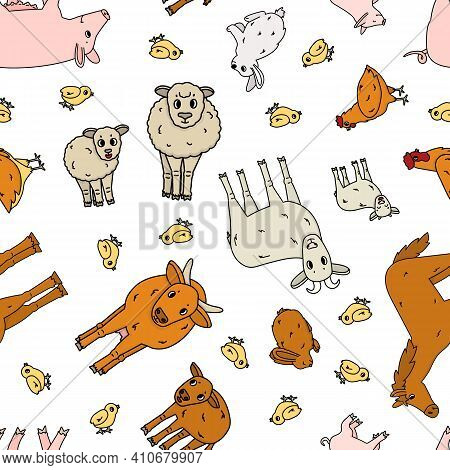 Seamless Pattern Of Doodle Outline Vector Cartoon Animals At The Farm. Sheep Ram Cow Bull Calf Chick