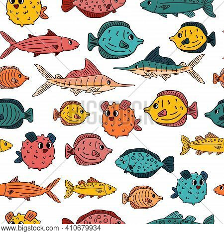 Seamless Pattern Of Doodle Isolated Animals. Set Of Outline Cartoon Vector Fish, Tang Flounder, Tuna