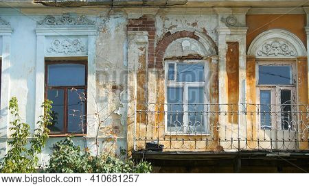 Exterior Of Old Russian Building. Stock Footage. Facade Of Crumbling Building With Old Russian Style