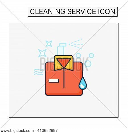 Dry Cleaning Color Icon. Laundry Service. Ironing. Washer. Using Chemical Solvent With Water. Cleani