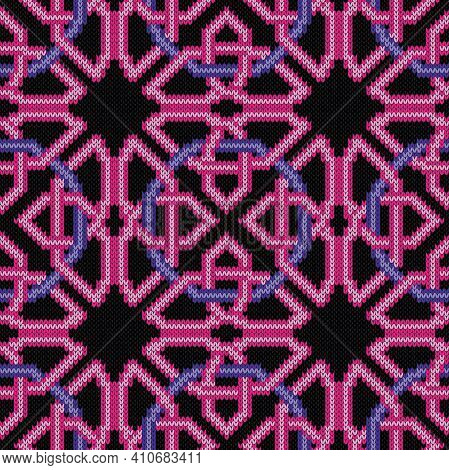 Knitting Seamless Vector Pattern As A Fabric Texture In Pink And Violet Color On Black Background As