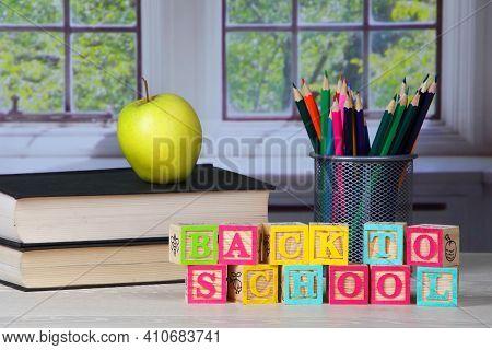 Back To School Concept Childrens Letter Blocks In Schoolroom