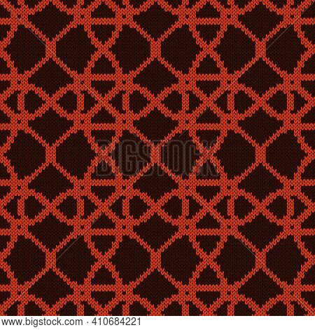 Contrast Ornate Seamless Knitted Vector Pattern As A Fabric Texture In Brown And Orange Colors