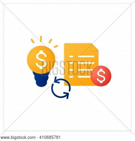 Great Business Plan Flat Icon. Perfect Idea For Making Money. Startup Project Foundation. Advantageo