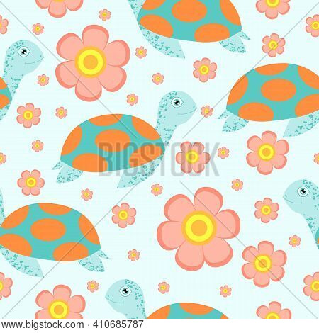 Seamless Pattern. Turtle Or Tortoise. Cute And Funny. Turquoise Green And Orange. Pink Flower. Blue