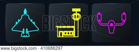 Set Isometric Jet Fighter, Aircraft Steering Helm And Airport Control Tower Icon. Vector
