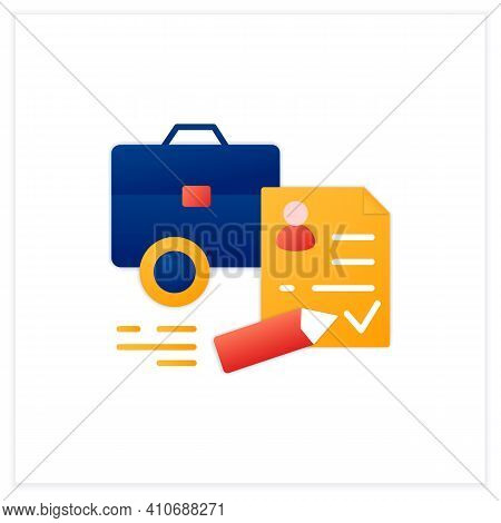 Register Business Flat Icon. Registration Of New Startup. Concluding Contract, Startup Agreement. La