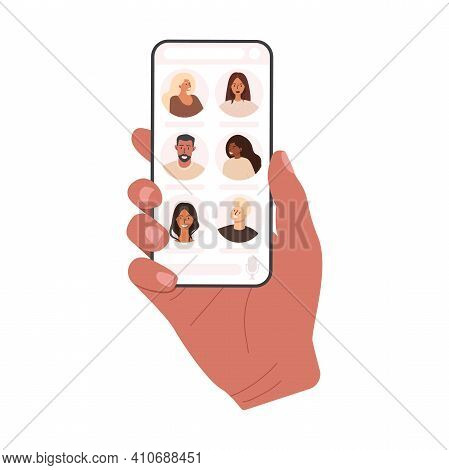 Flat Vector Illustration Of A Hand Holding A Phone. Social Networking With Friends. Clubhouse Audio