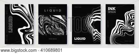 Black And White Abstract Poster Design With Liquid Lines. White Curves And Wavy Lines On Dark Black