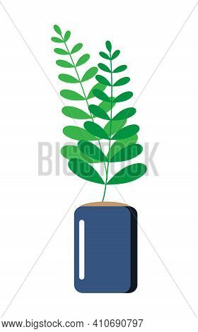 Simple Ficus In Pot, Rubber Plant Illustration. Home Green Plant Icon Vector. Home Garden Sign Illus