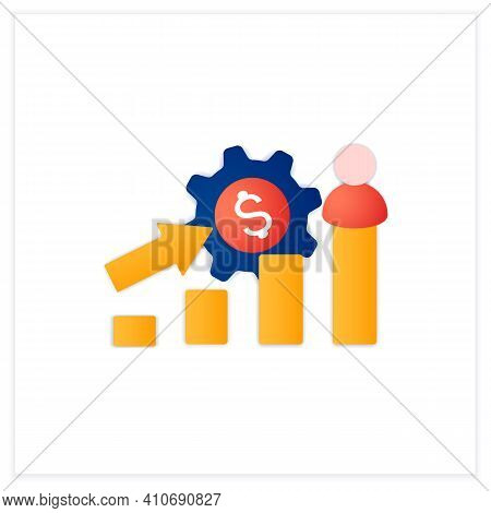 Growth Business Flat Icon. Gradually Rise Of Business, Reaches Point For Expansion. Successful Compa