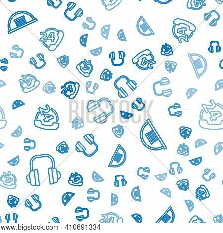 Set Line Headphones, Hangar And Telephone 24 Hours Support On Seamless Pattern. Vector