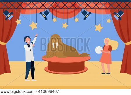 Circus Actors Performing With Walrus. Trainers Making Show With Wild Animals. Flat Vector Illustrati
