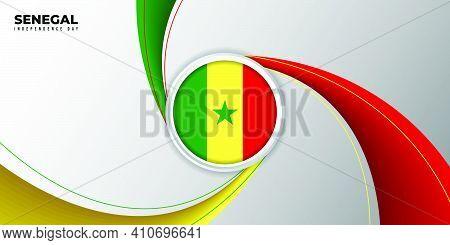 Senegal Independence Day Background With Senegal Flag Emblem Design. Good Template For Senegal Natio