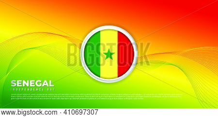 Background With Red Yellow And Green Design. Senegal Independence Day Background With Senegal Flag E