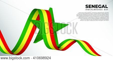 Waving Senegal Flag Banner With Star Shape Design. Senegal Independence Day Background. Good Templat