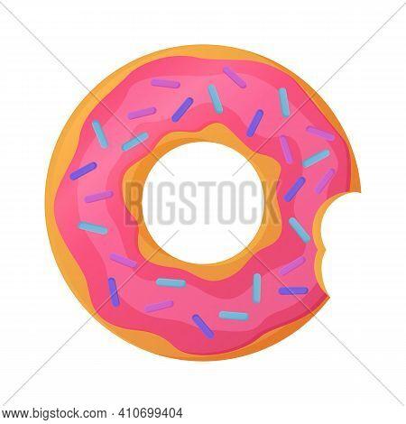 Bright Bitten Doughnut With Pink Glaze. No Diet Day Symbol, Unhealthy Food, Sweet Fastfood, Sugar Sn