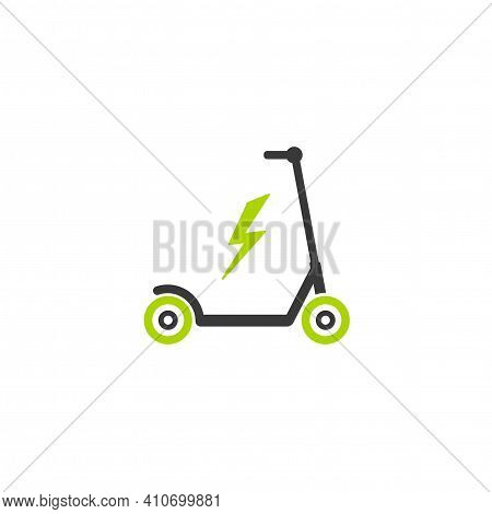 Black And Green Kick Scooter Or Balance Bike With Lightning Bolt Icon. Flat Push Scooter Isolated On