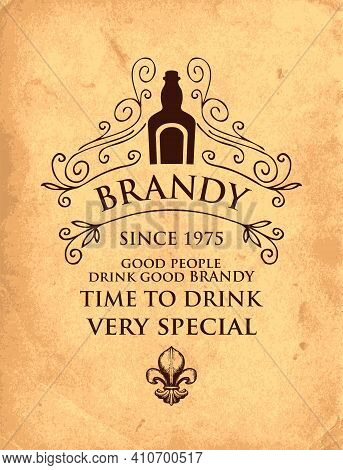 Banner With The Inscription Brandy And The Words Time To Drink. Vector Illustration With A Bottle, C