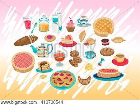 Pastries, Food Icons, Pies, Cakes And Tea Cookies, Cake And Sweets. Food Symbols, Menu For Cafe. Vec