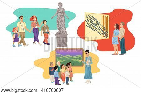 Museum Gallery, People Tourists Visiting Exhibits, Paintings And Statues, Children And People Watchi