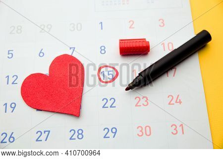 Ovulation Date Marked On Calendar, Trying To Conceive. Planning Of Pregnancy Concept