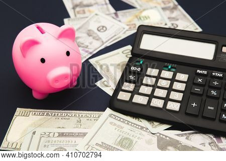 Business, Finance, Investment, Saving And Corruption Concept - Close Up Of Dollar Cash Money, Calcul
